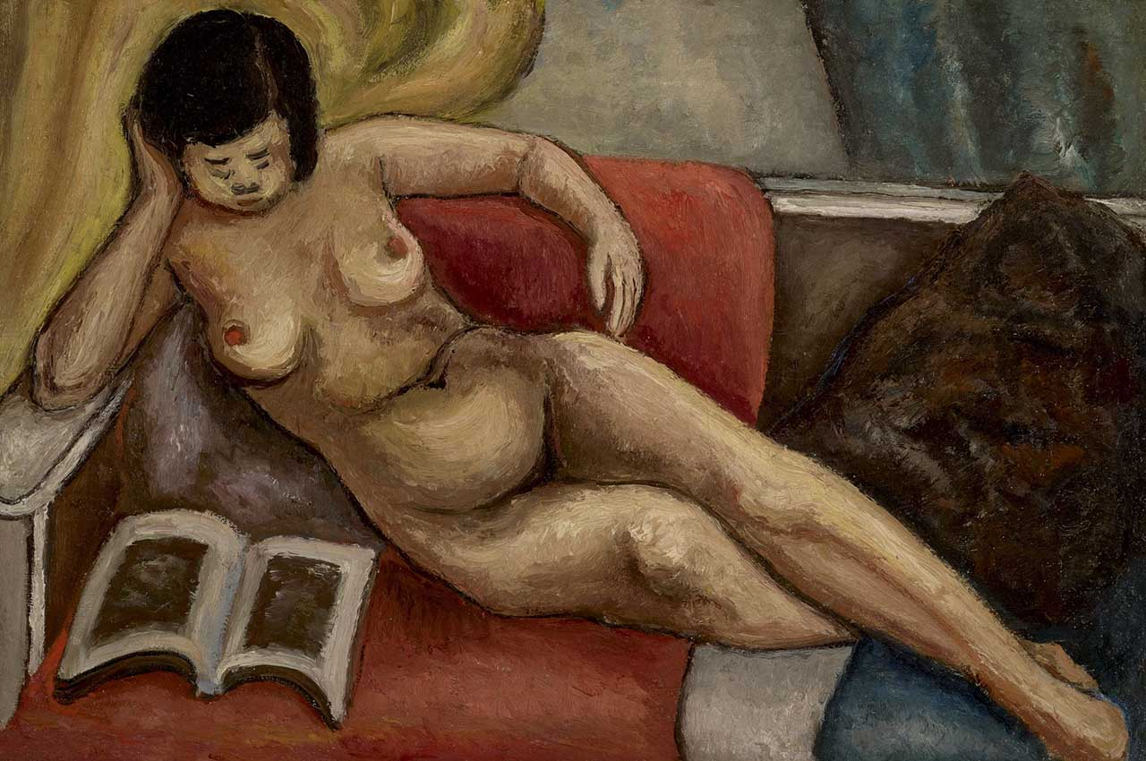 Nude Female Reading in Bed Oil on canvas 52x78cm