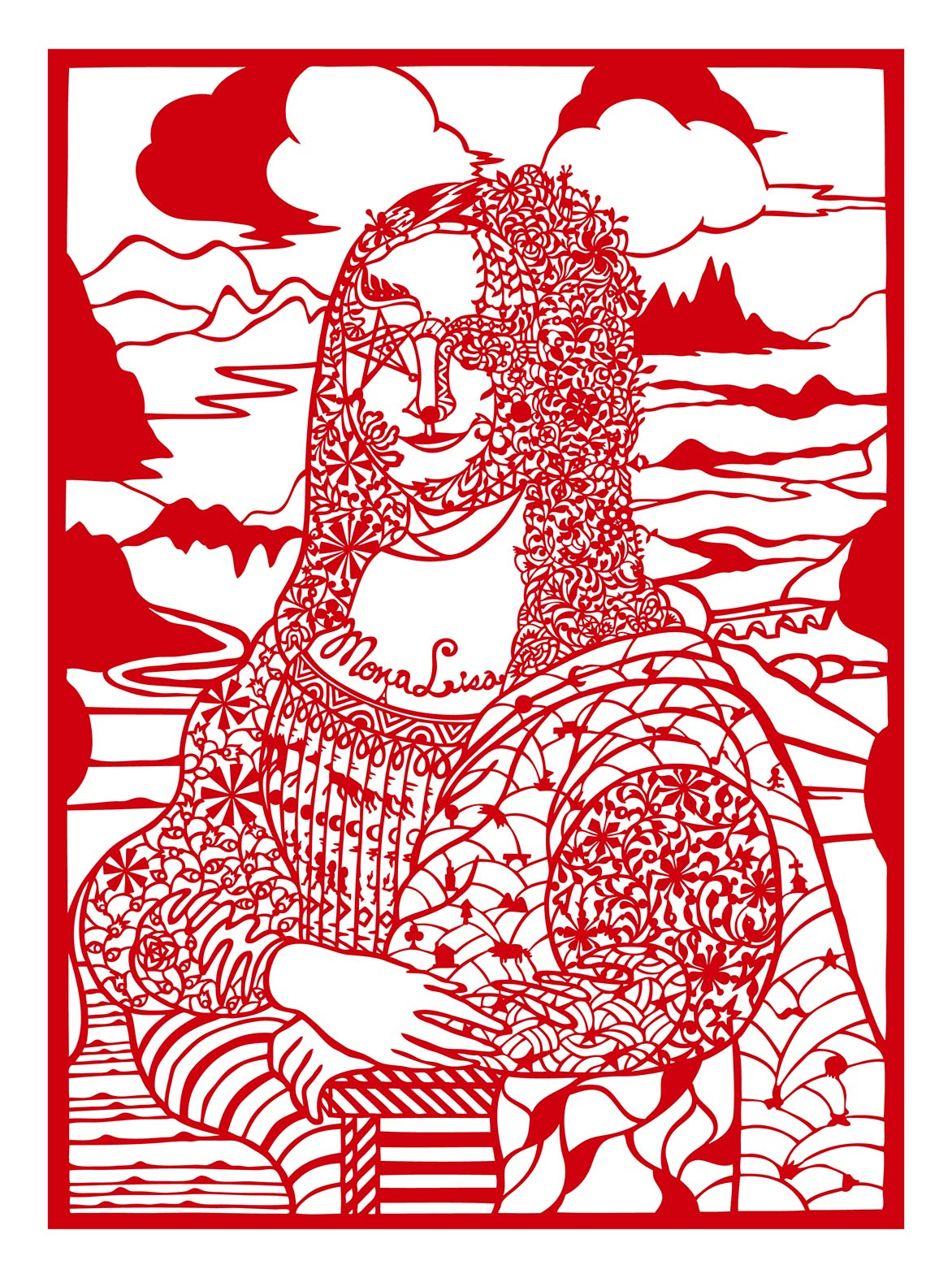 Reading Mona Lisa with Diamonds Red silk fabric and paper 85x60cm