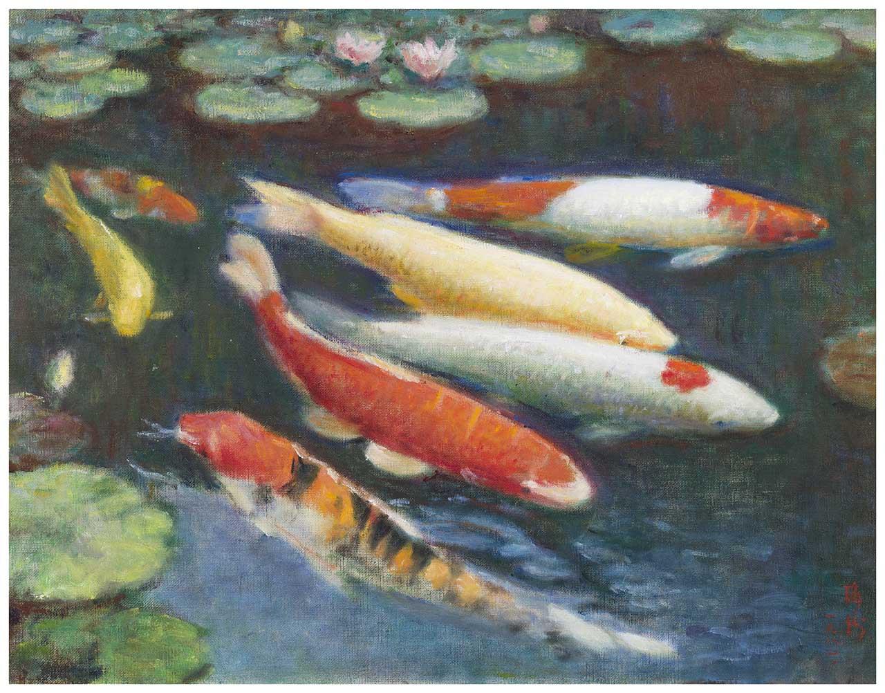 Koi Fish 油彩畫布 10F