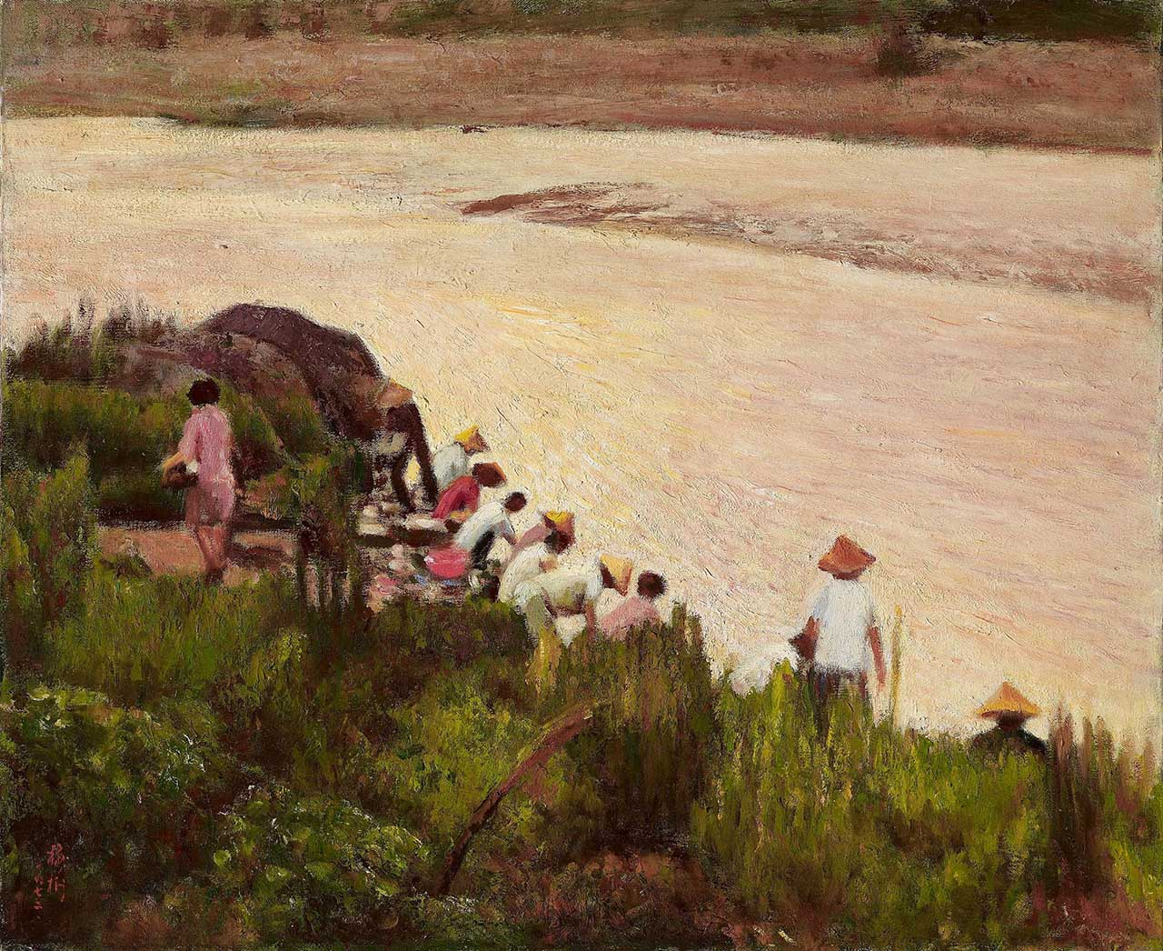 Riverbank Morning Oil on canvas 12F