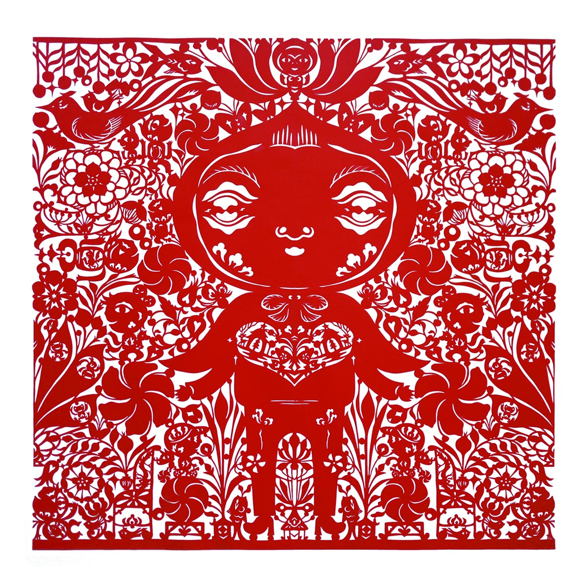The Kingdom Full of Love and Courage to Fly Thin and Tough Red Silk Fabric 120x120cm