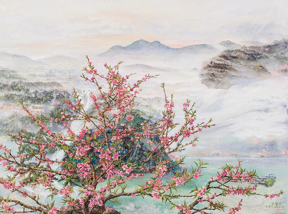 Peach Blossom in Spring Harmony Mixed media on linen 130.3×97.3cm (60F)