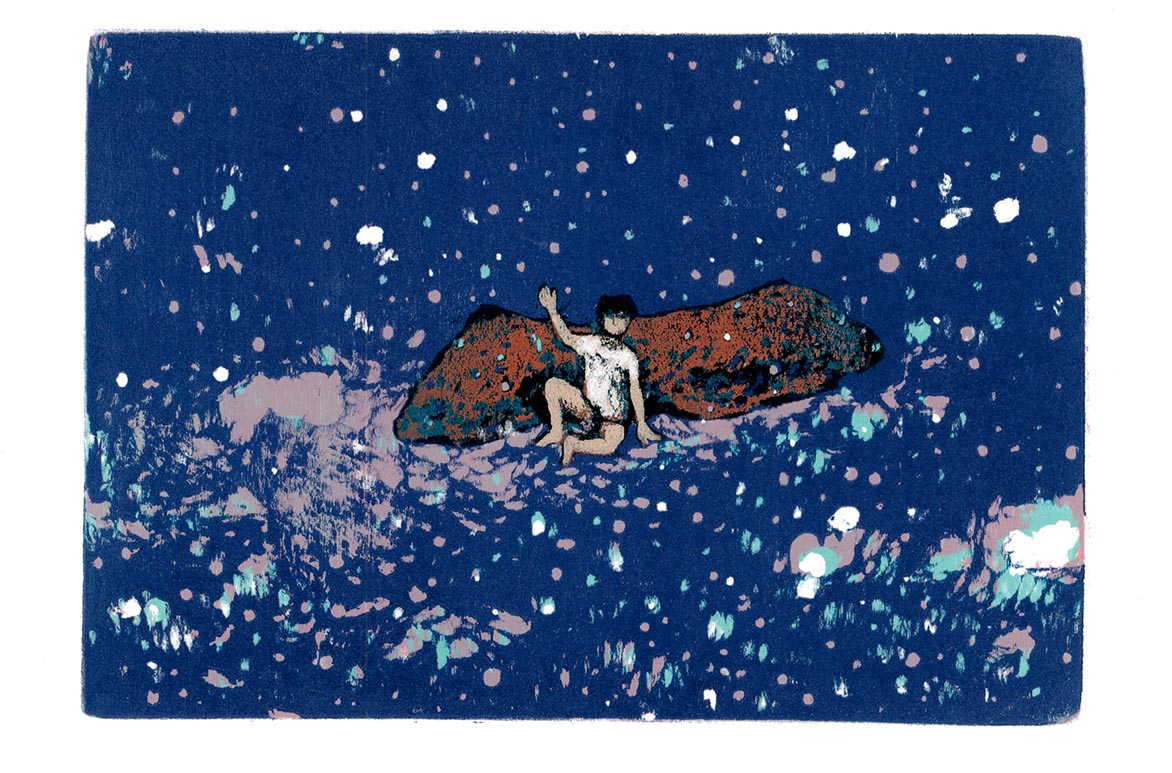 In The Blue Snow Woodcut/ Relief print 15.5x22.5cm