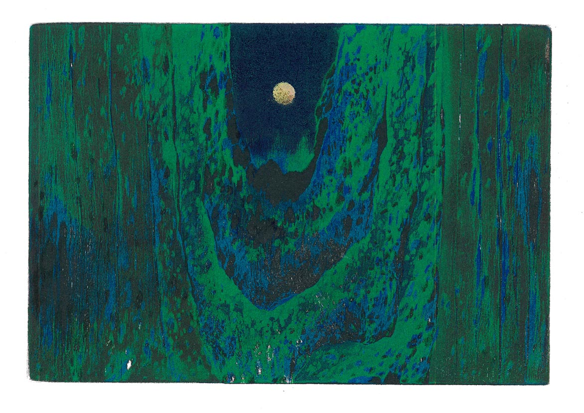 The Moon Woodcut/ Relief print 15.5x22.5cm