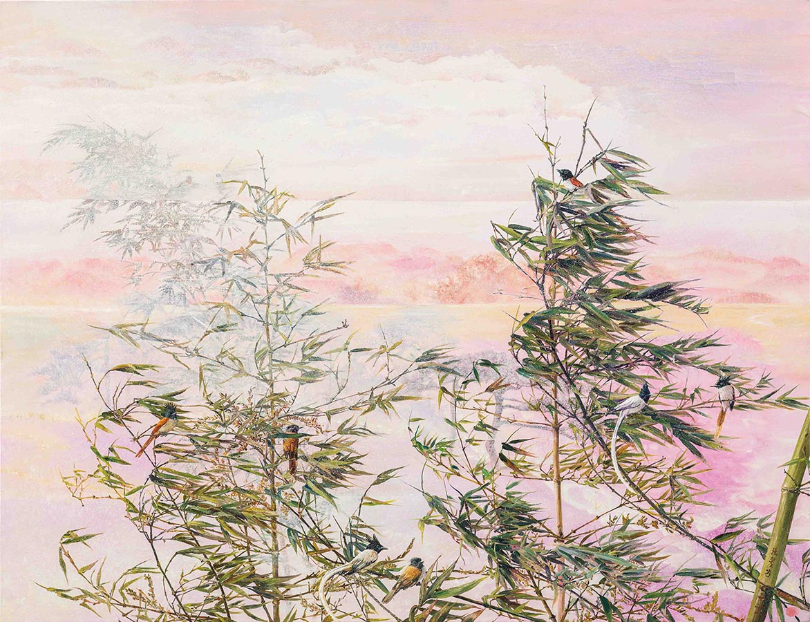 Breeze Sweeping Pines and Bamboos Mixed media on linen 112×146 cm (80F)