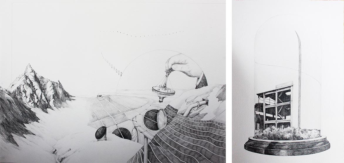 Measure A Shoulder- Width Apart's Silence Planet M14 pencil on paper 47x89cm