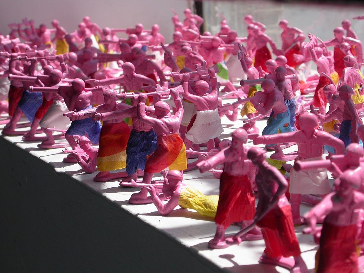 Guerilla Girls Installation (plastic army soldiers,acrylic,napkin) 100x280x13cm