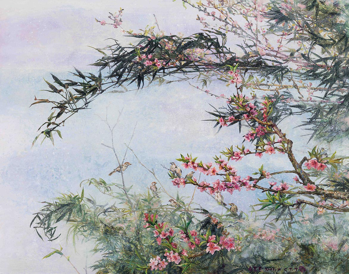 Bamboo and Peach Blossom Mix media on Canvas 91.2×117cm (50F)