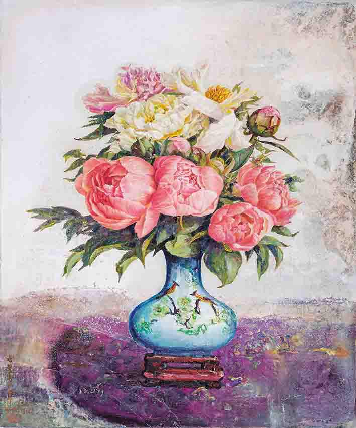 The Regal, Elegant Peony Mixed media on linen on plywood 72.8×60.8cm (20F)