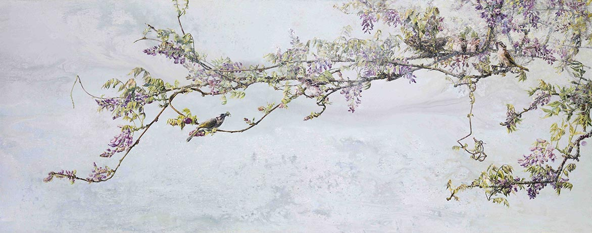 Chinese Bulbul Perched on a Branch Acrylic and oil on linen 83.8x211.5cm