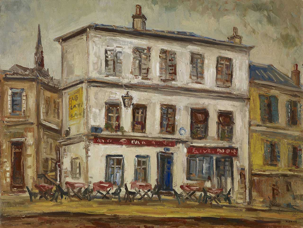 Café in France Oil on canvas 61x80 cm