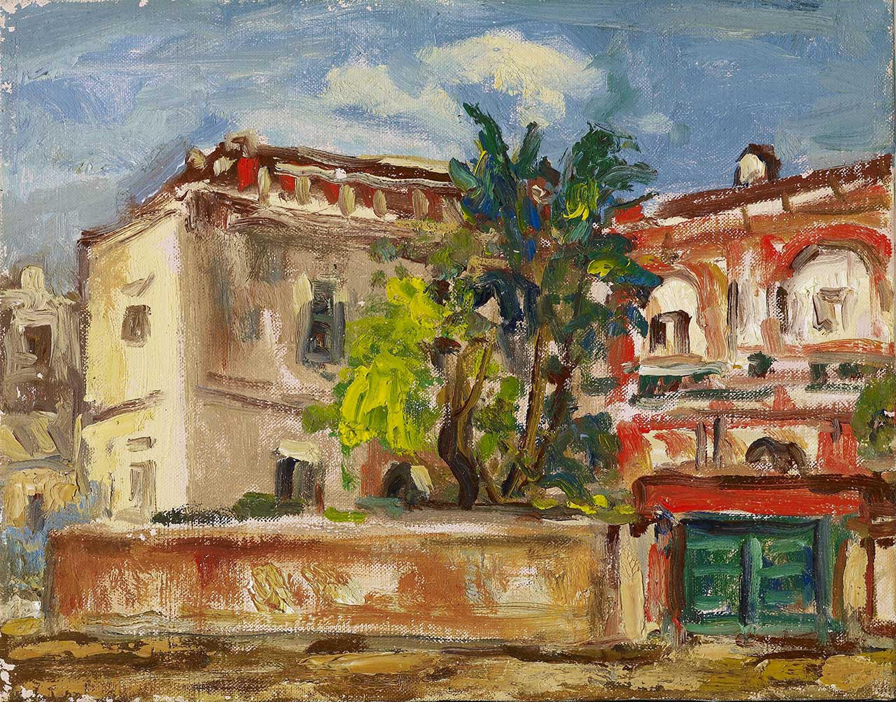 Red Mansion Oil on canvas 27.8x35.5 cm