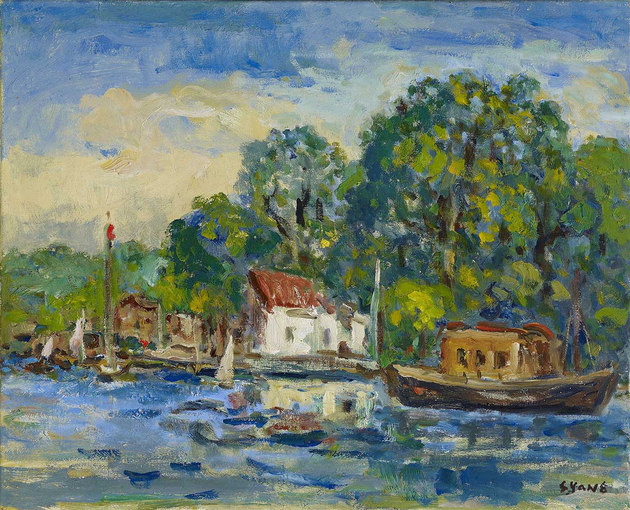 Dock (Scenery in Holland) Oil on canvas 52.3x65 cm