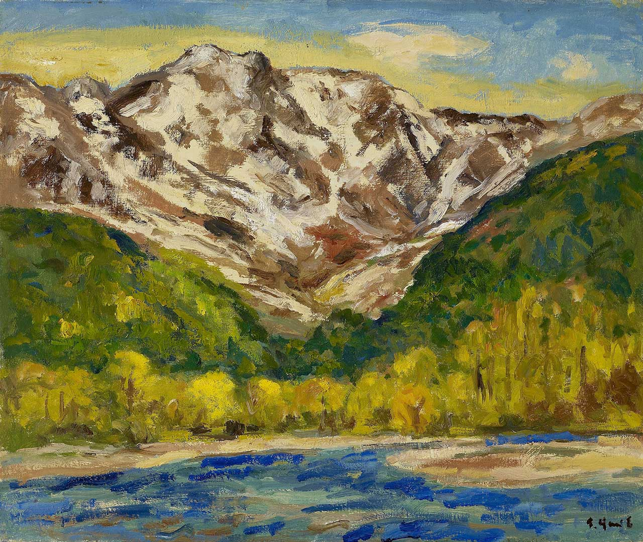 Snowy Mountain (Foothill of White Horse Mountain) Oil on canvas 60.7x72.5 cm