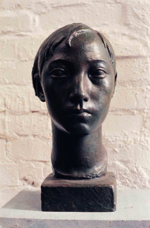 CHEN Hsia-Yu Girl's Head 1948 Bronze 34.5x19.3x17.4cm
