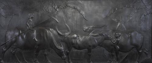 HUANG Tu-Shui Water Buffaloes 1930 Gypsum 250x555cm