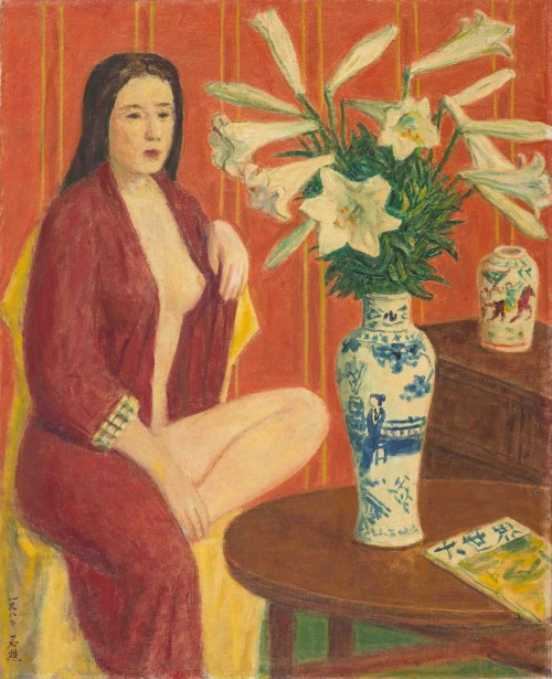 Lee Shih-Chiao White Lilies and Bathing Woman 1980 Oil on canvas  65×53cm