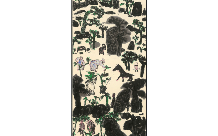 Yu Peng, Figures, Trees and Rocks, Beasts, Ink on paper, 134.6x68.9cm(10.3才), 1988