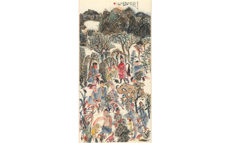 Yu Peng, Monks Walk Away in the Mountain Guan, Ink on paper, 137x69.1cm, 1993