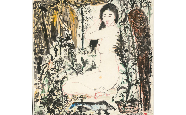Yu peng, Waking Up in the Morning, Ink and color on paper, 70.4x68.6cm(5.4才), 1990