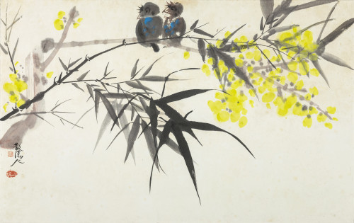 CHAO Chung-Hsiang The Bamboo and the Magpie Ink and acrylic on paper 61.5×97cm