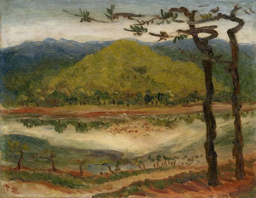 Chen Cheng-po Mountain View in Front of a Pond  Unknown Period Oil on canvas  32×41cm