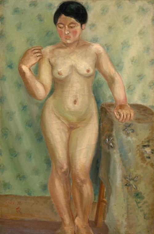 Chen Cheng-po Nude Female with Right Hand Bending Back to Shoulder 1926 Oil on canvas 80×52.5cm