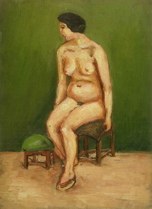 Chen Cheng-po Seated Nude Leaning to the Left Unknown Period Oil on canvas 33×24cm