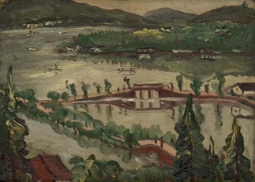 Chen Cheng-po Lake and Boat 1930s Oil on canvas 24×33cm