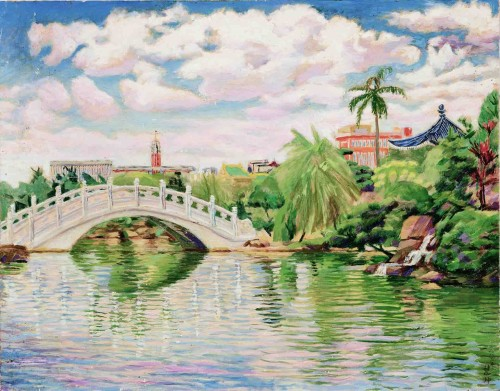 CHEN Houei-Kuen  Overlook Taipei City at Chiang Kai-Shek Memorial Hall 1983 Oil on canvas  91×116.7cm 103.8×129.5cm (with frame)