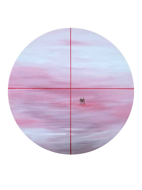 Chen I-Chun_Lonely Battle-Fighting Hare_2018_Arcylic on canvas_diameter in 50 cm  Chen I-Chun Lonely Battle-Fighting Hare 2018 Arcylic on canvas diameter in 50 cm