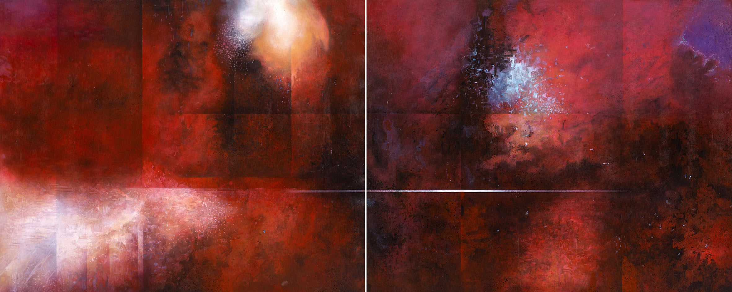 Leo Wang Stargazer Series II – Red Tide  2016 Oil on canvas  130x162cmx2