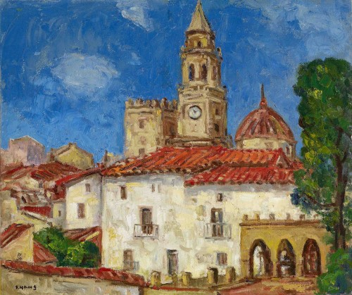 Yang San-Lang Old City Scenery in Spain  Period Unknown Oil on canvas  63.5x75.5 cm