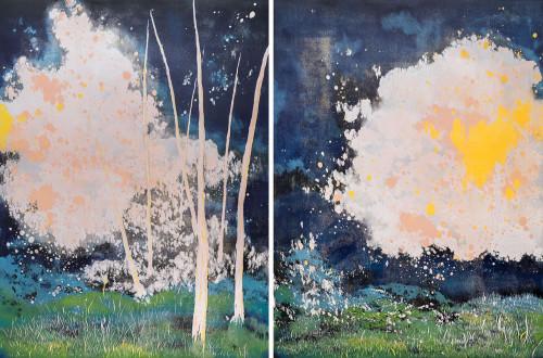 YU YA-LAN Fireworks 2015 Woodcut/ Relief print  120×90cm ×2