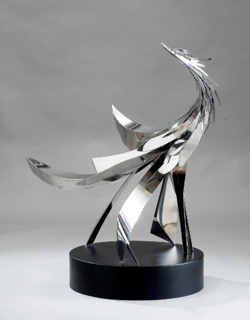 YANG YU-YU   Advent of the Phoenix (3)  1970  Stainless steel   102x94x79cm