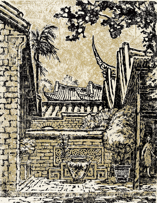 YANG YU-YU   Ancient House in Wufeng  1959  Bagasse board relief print   48x56cm