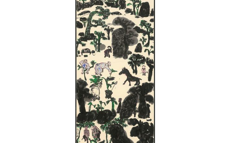 于彭, 人物・樹石・怪獸,134.6x68.9cm(10.3才), 1988