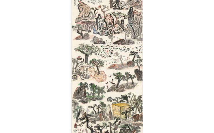 于彭, 春天水波綠漪生,彩墨、紙本 137.2x68.4cm(10.4才), 1988