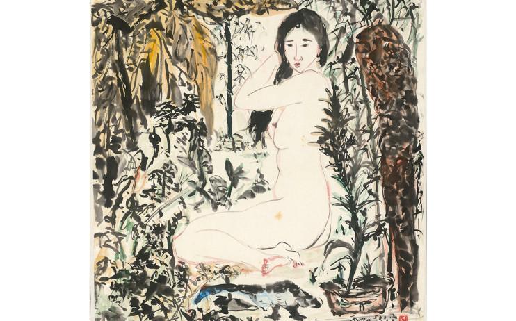 于彭, 晨起, 彩墨、紙本, 70.4x68.6cm(5.4才), 1990