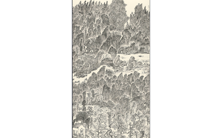 于彭, 辛已年山水聯作 -2, 水墨、紙本,  179.1x94.1cm(18.7才), 2001
