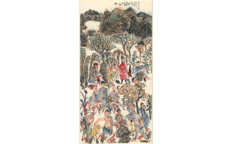 于彭, 關山道侶遠, 水墨、紙本, 137x69.1cm, 1993