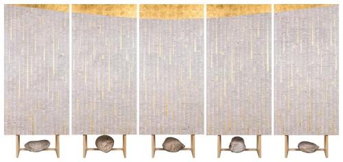吳耿禎  字典Ⅱ--一片黃昏 2015 金箔、中文繁體字典、畫布板 180×90cm(5件一組)