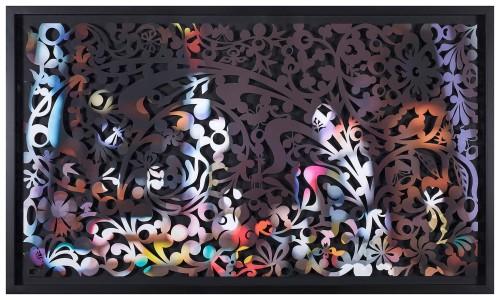 吳耿禎  影像剪紙系列─裸妝之靡 2015 壓宣影布輸出 100×180cm