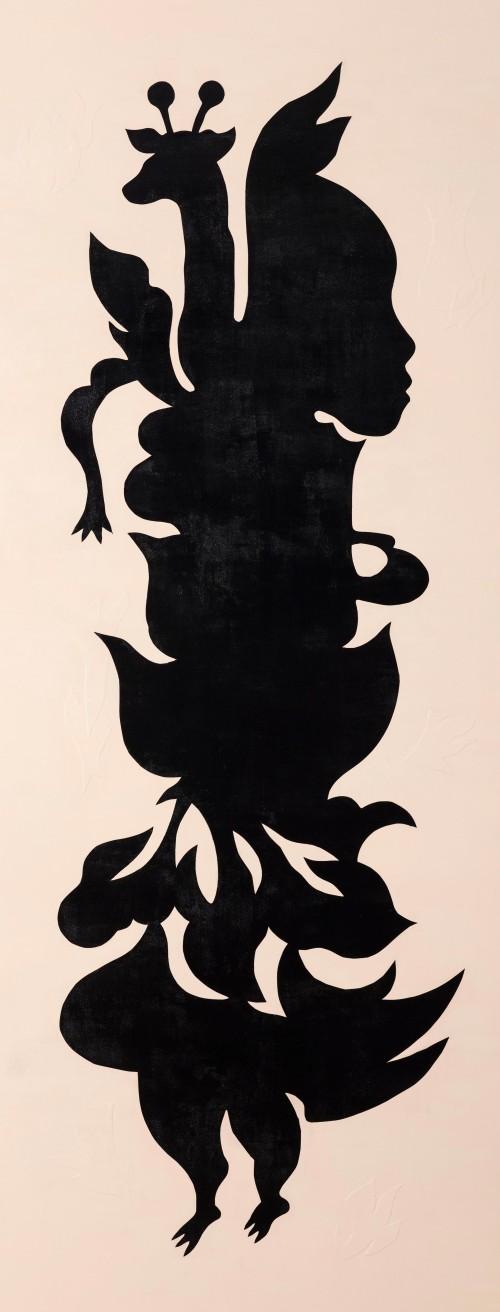 吳耿禎  黑剪紙No.2─畫布系列 2015 壓克力顏料、畫布拼貼、畫布  220×85cm-厚度3.5cm
