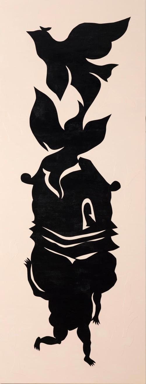 吳耿禎  黑剪紙No.5─畫布系列 2015 壓克力顏料、畫布拼貼、畫布  220×85cm-厚度3.5cm