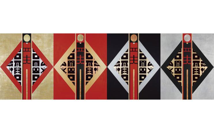 廖修平 Liao Shiou-Ping_四季之門(一)(二)(三)(四)Gate of Four Seasons I II III IV_壓克力、金箔、畫布 Acrylic, gold leaf on canvas_2008