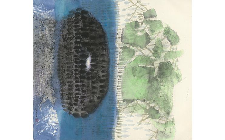 李重重 LEE Chung-Chung_冷月浸雲Moon Among the Clouds_水墨設色紙本 Ink and color on paper_96.8x108.5cm, 2017