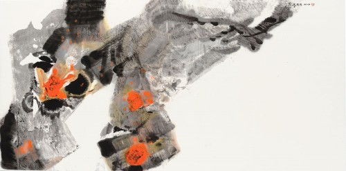 李重重  怒放的生命  2014  水墨設色、紙本  68.5x139cm