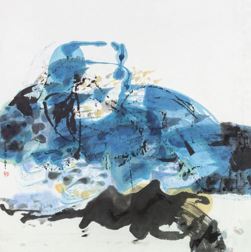 李重重 藍色花園 2005 水墨設色紙本 65x64cm