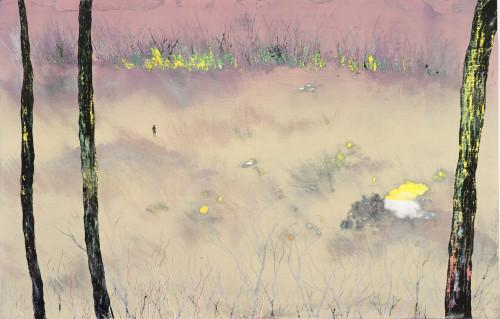 游雅蘭  清晨散步  2016  版畫/木刻油印凸版  50x78cm